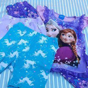 4 pc PJ Bundle ~ Disney Frozen Pajamas + Unicorns